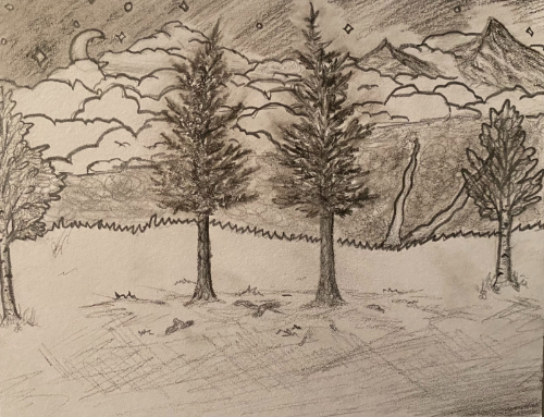 Two pines, two paths, two mountains, and the one choice that changes the perspective